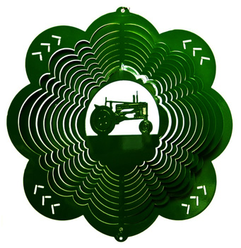 green tractor wind spinner
