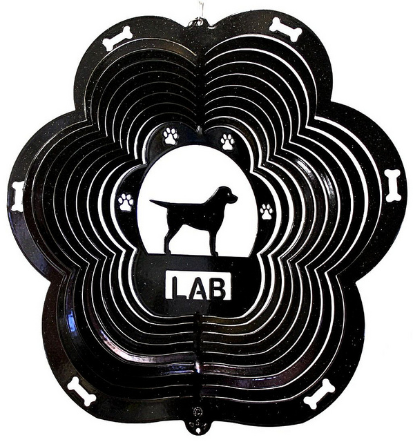black lab wind spinner