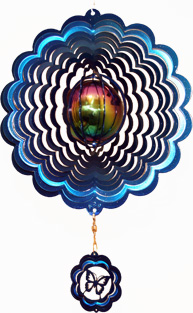 gazing ball wind spinner - blue