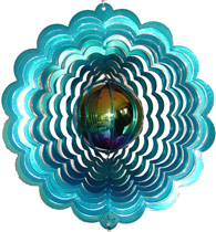 teal gazing ball wind spinner - no mini