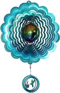 teal gazing ball wind spinner